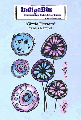 IndigoBlu - Circle Flowers by Asia A6, Leimasetti