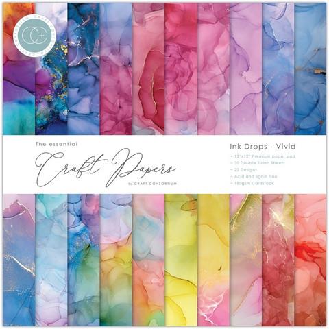 Craft Consortium - Essential Craft Papers, Ink Drops Vivid, 12