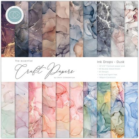 Craft Consortium - Essential Craft Papers, Ink Drops Dusk, 12