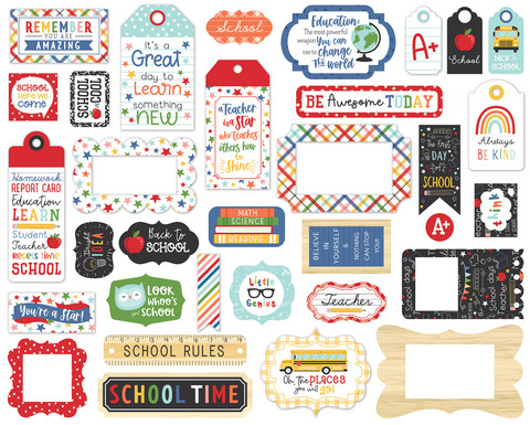 Echo Park - I Love School Frames & Tags, Leikekuvia, 33 kpl