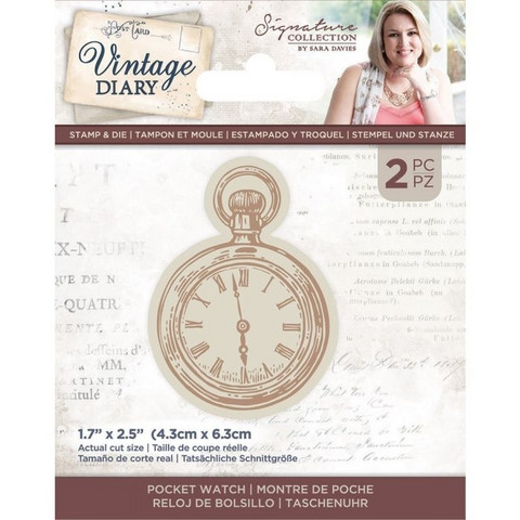 Crafter`s Companion - Sara Signature Vintage Diary Collection, Leima- ja Stanssisetti, Pocket Watch