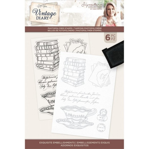 Crafter`s Companion - Sara Signature Vintage Diary Collection, Leimasetti, Exquisite Embellishments