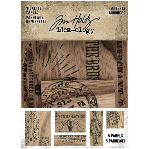 Tim Holtz - Idea-Ology Wooden Vignette Panels, Adverts, 5 kpl