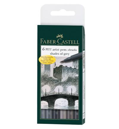 Faber-Castell - PITT Artist Pen Brush, Shades of Grey, 6kpl