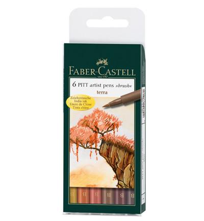 Faber-Castell - PITT Artist Pen Brush, Terra, 6kpl