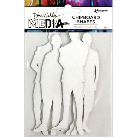Dina Wakley Media - Chipboard Shapes, The Men, 5kpl