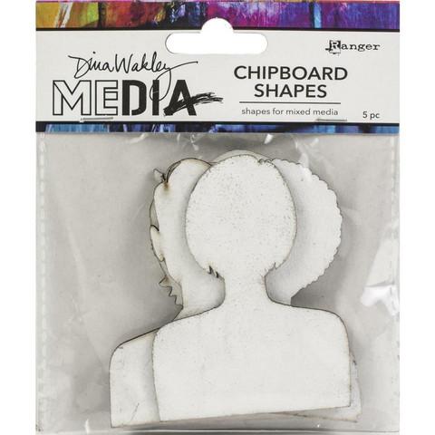 Dina Wakley Media - Chipboard Shapes, Passport Photos, 5kpl
