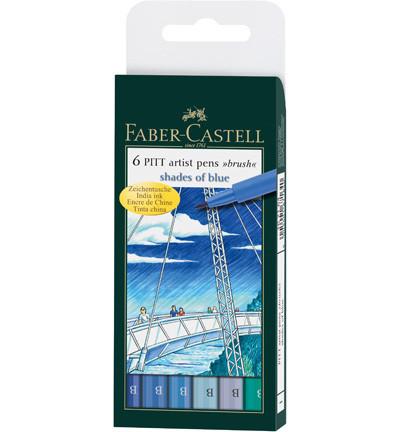 Faber-Castell - PITT Artist Pen Brush, Shades of Blue, 6kpl