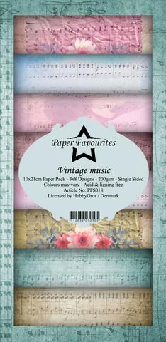 Paper Favourites - Vintage Music Slim Paper Pack, Paperikko