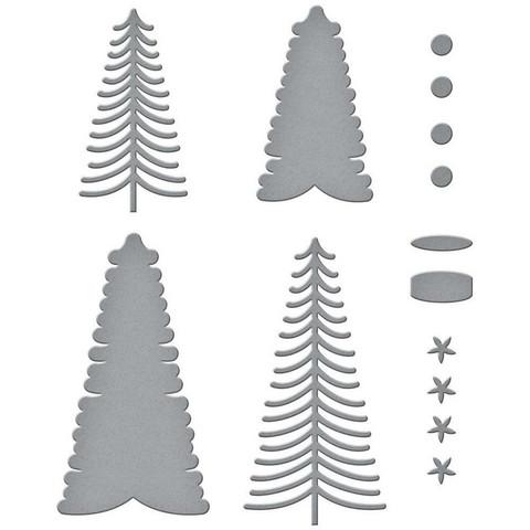 Spellbinders - Etched Dies, Stanssisetti, Bottle Brush Trees