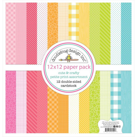 Doodlebug - Cute & Crafty, Petite Prints Double-Sided Paper Pack 12