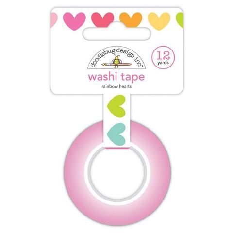 Doodlebug - Cute & Crafty, Washi Tape 15mmX11m, Rainbow Hearts