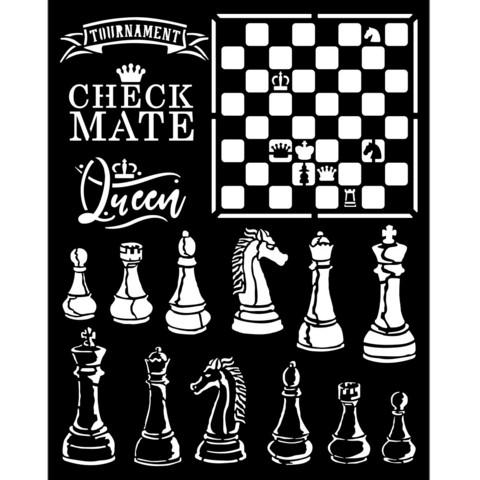 Stamperia - Stencil 20x25cm, Alice Check Mate