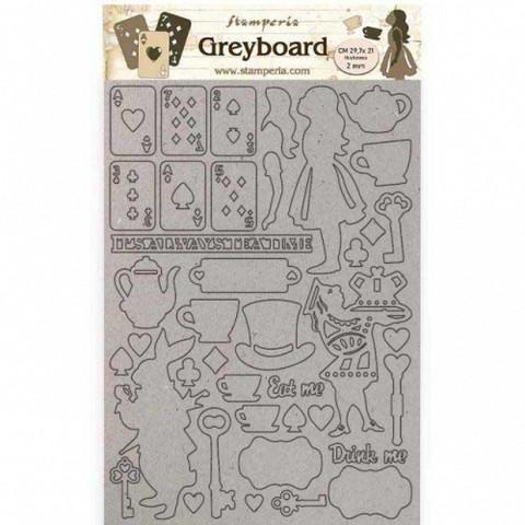 Stamperia - Alice, Greyboard A4, Elements, Leikekuvioarkki