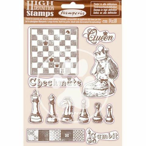 Stamperia - Alice, Rubber Stamp, Leimasetti, Checkmate