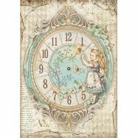 Stamperia - Alice, Rice Paper, A4, Clock