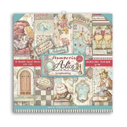 Stamperia - Alice Through the Looking Glass, Paper Pack 8