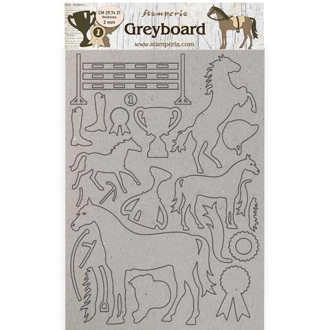 Stamperia - Romantic Horses, Greyboard A4, Trophy, Leikekuvioarkki