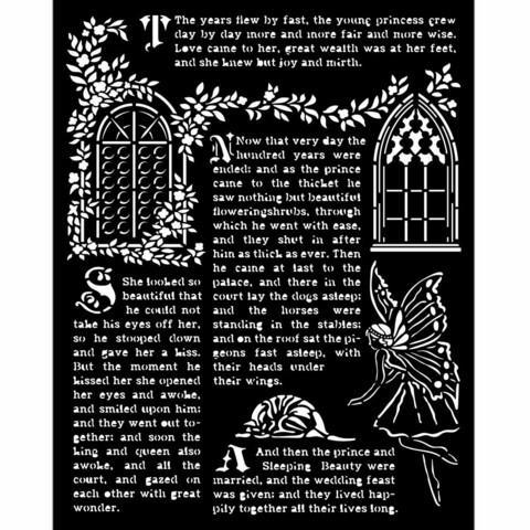 Stamperia - Sleeping Beauty, Stencil 20x25cm, Windows