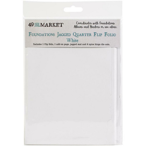 49 and Market - Foundations Jagged Quarter Flip Folio, White
