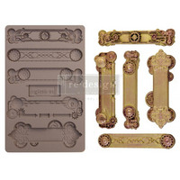 Prima Marketing - Decor Mould, Steampunk Plates, Silikonimuotti