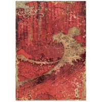 Stamperia - Sir Vagabond in Japan, Rice Paper, A4, Red Texture