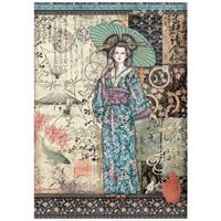 Stamperia - Sir Vagabond in Japan, Rice Paper, A4, Lady