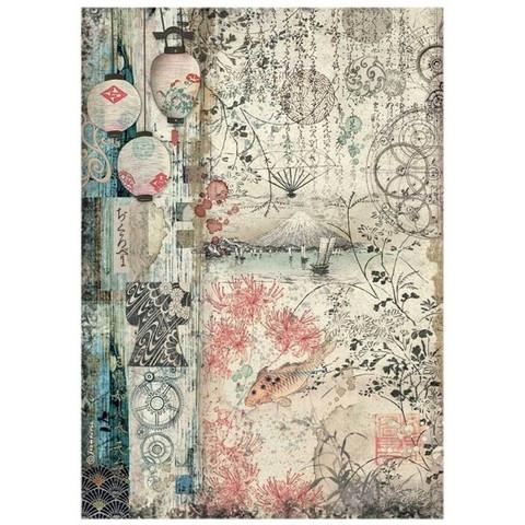 Stamperia - Sir Vagabond in Japan, Rice Paper, A4, Lamps
