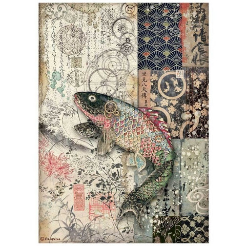 Stamperia - Sir Vagabond in Japan, Rice Paper, A4, Mechanical Fish