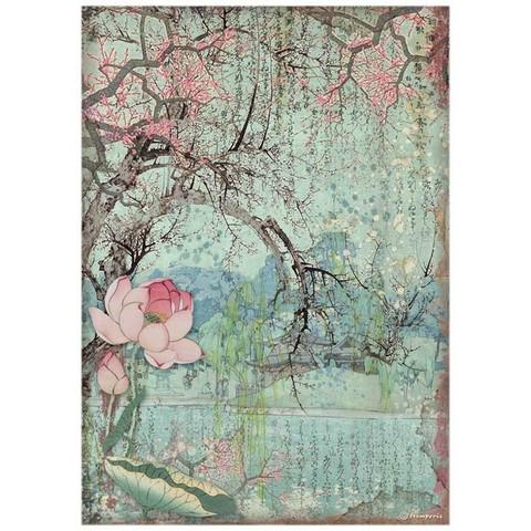 Stamperia - Sir Vagabond in Japan, Rice Paper, A4, Oriental Tree
