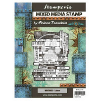 Stamperia - Sir Vagabond in Japan, Mixed Media Stamp, Leimasetti, Writings