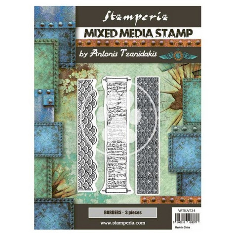 Stamperia - Sir Vagabond in Japan, Mixed Media Stamp, Leimasetti, Borders
