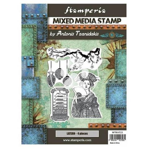 Stamperia - Sir Vagabond in Japan, Mixed Media Stamp, Leimasetti, Lantern