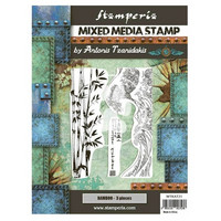 Stamperia - Sir Vagabond in Japan, Mixed Media Stamp, Leimasetti, Bamboo