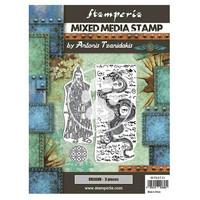 Stamperia - Sir Vagabond in Japan, Mixed Media Stamp, Leimasetti, Dragon