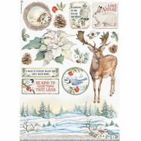 Stamperia - Winter Tales, Rice Paper, A4, Poinsettia