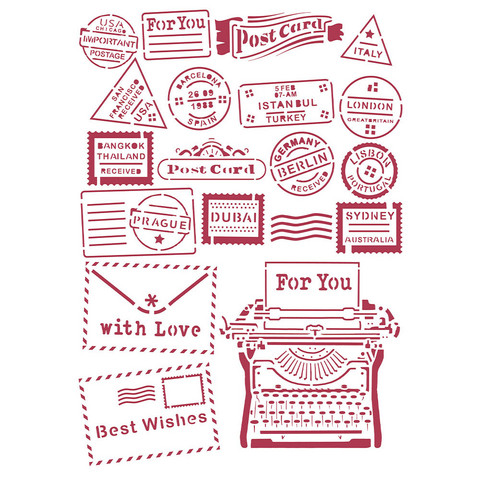Stamperia - Romantic Christmas, Stencil A4, Type Writer