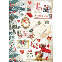 Stamperia - Romantic Christmas, Rice Paper, A4, Let it Snow Cards
