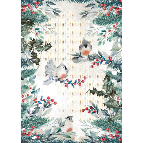 Stamperia - Romantic Christmas, Rice Paper, A4, Birds