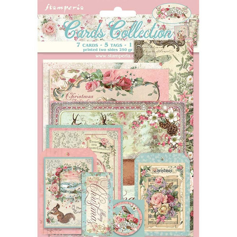 Stamperia - Pink Christmas, Cards Collection, 13 osaa