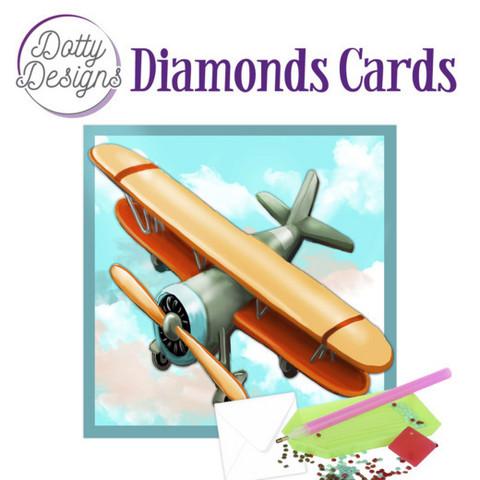 Dotty Designs - Vintage Biplane (O)(P), Timanttityökortti, 15x15cm