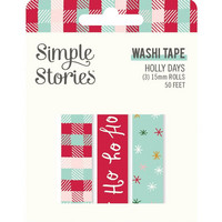 Simple Stories - Holly Days, Washi Tape, 3 rullaa
