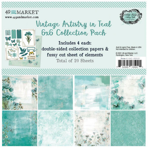 49 And Market - Vintage Artistry In Teal, Collection Pack 6