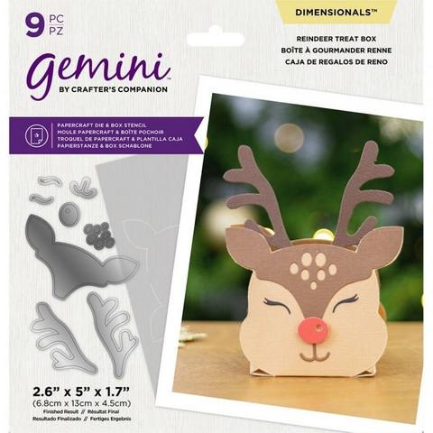 Gemini - Dimensionals Die & Stencil, Stanssi- ja sapluunasetti, Reindeer Treat Box