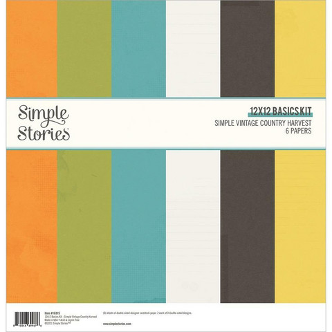 Simple Stories - Simple Vintage Country Harvest Basics Double-Sided Paper Pack, 12