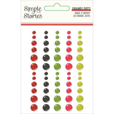 Simple Stories - Make It Merry Enamel Dots, 60 kpl