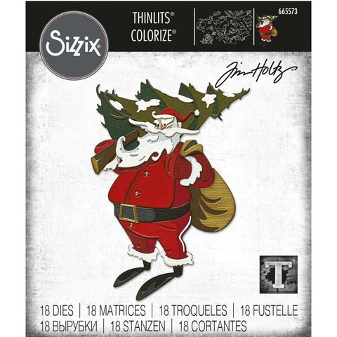 Sizzix - Thinlits Dies By Tim Holtz, Stanssisetti, Woodland Santa Colorize