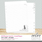 Color Crush A5 Planner Lined Paper Inserts, 24sivua