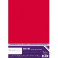 Crafter`s Companion - Helmiäiskartonki, Xmas Red, A4, 10ark