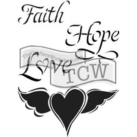 Sapluuna, Journaling Stencil Faith Hope & Love, 6'x9'